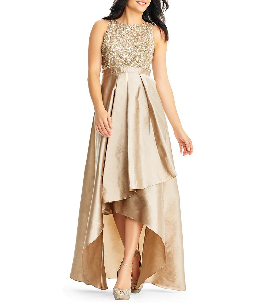 Adrianna Papell Beaded Hi Low A Line Gown Dillards