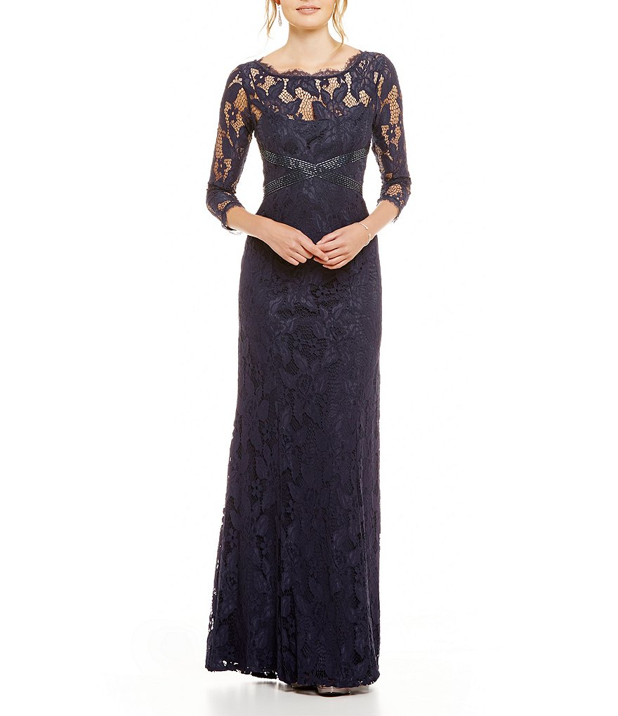 Adrianna Papell Beaded Lace 3/4 Sleeve Gown | Dillards