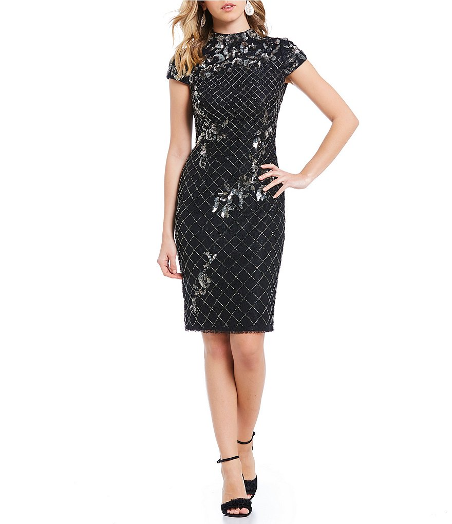 Adrianna Papell Beaded Mock Neck Sheath Dress