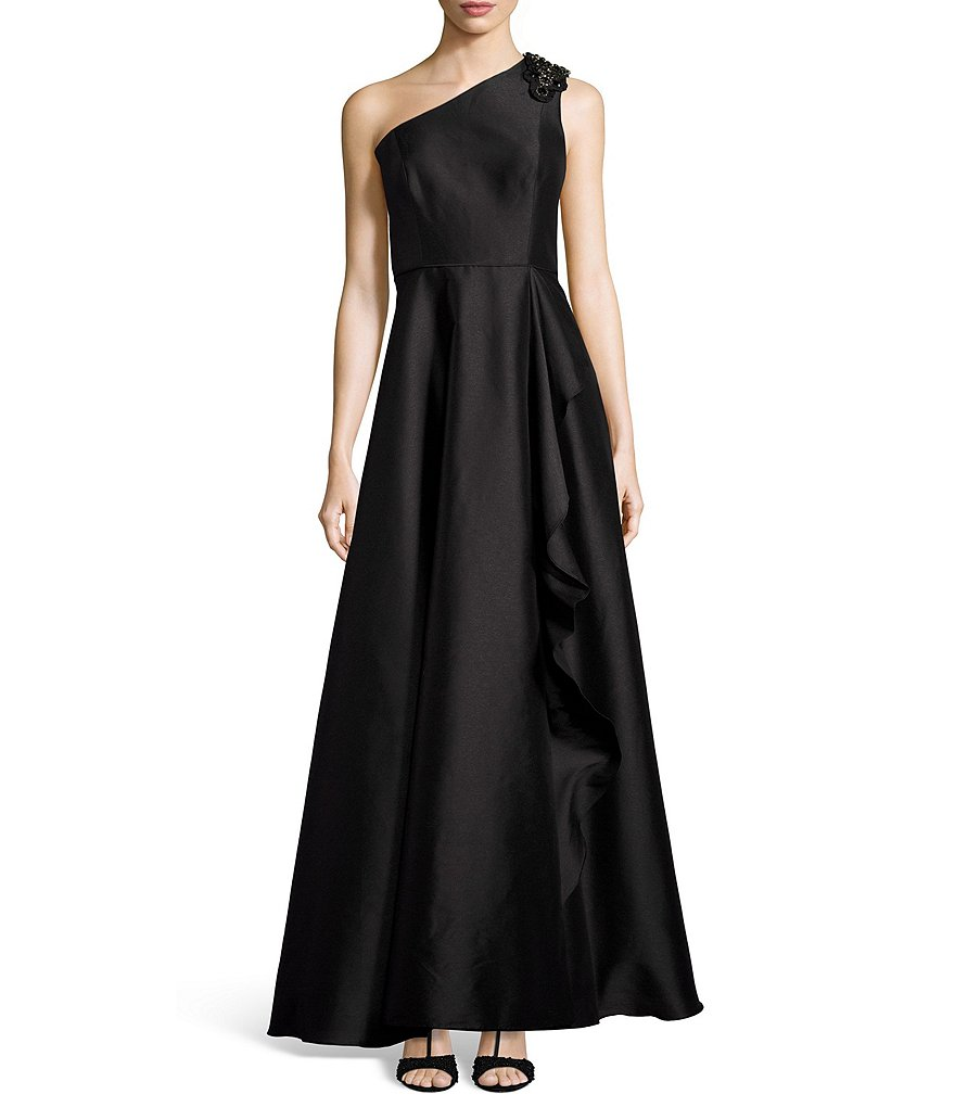 Adrianna Papell Beaded One Shoulder Ruffle Drape Ball Gown