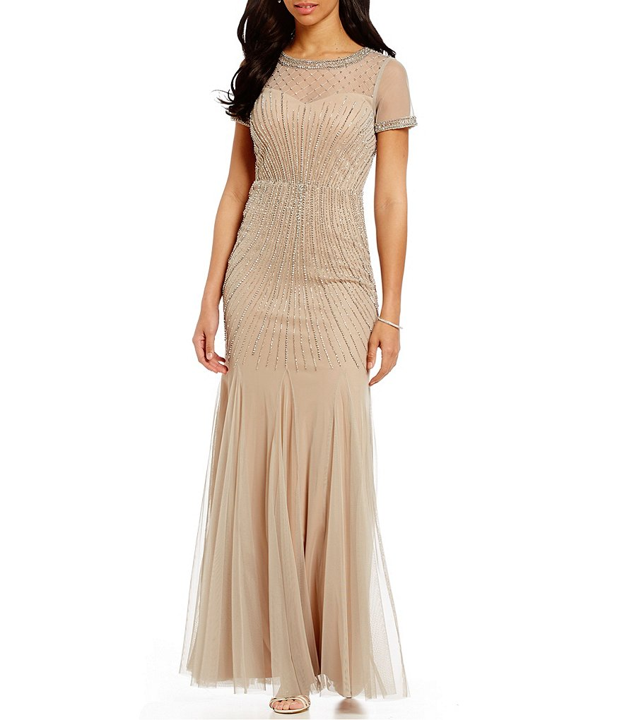 Adrianna papell gown short sleeve deco - Adrianna Papell Beaded Short Sleeve Dress