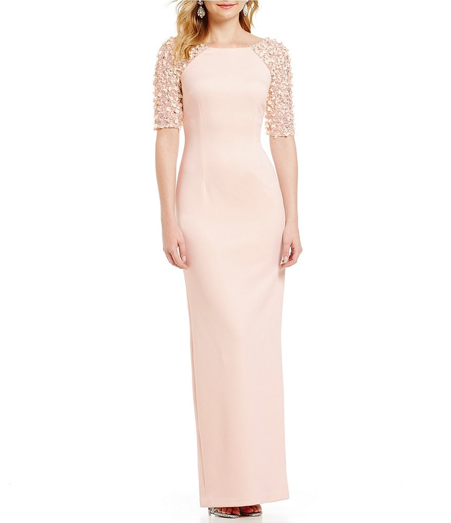 Adrianna Papell Beaded Stretch Knit Column Gown