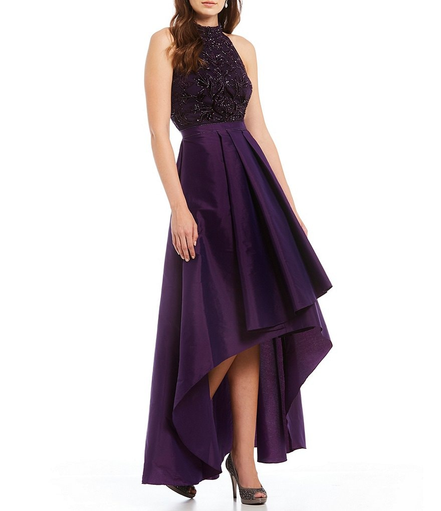 Adrianna Papell Beaded Taffeta Hi Low Gown