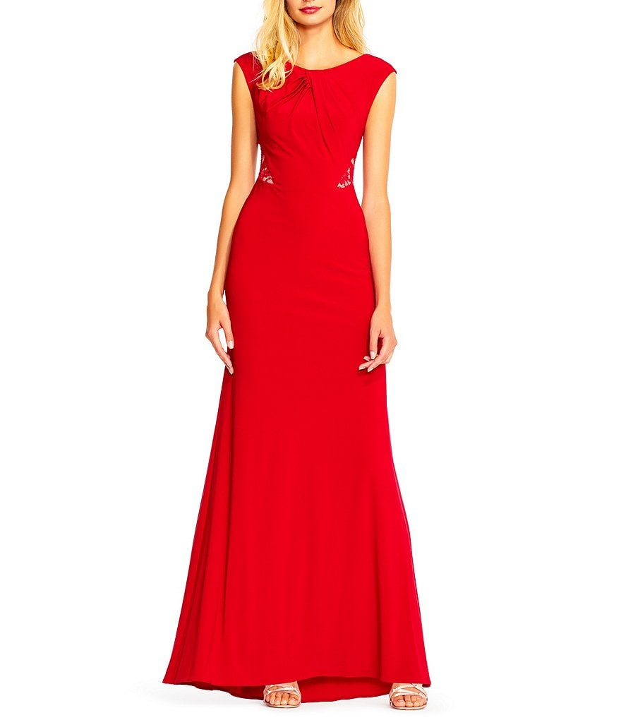 Adrianna Papell Cap Sleeve Lace Back Gown