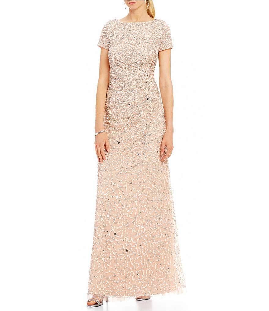 Adrianna Papell Cap-Sleeve Sequin Draped Back Gown