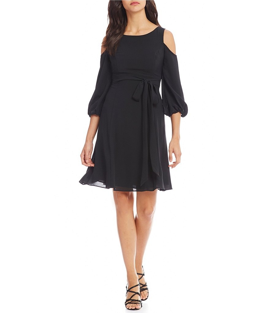 Adrianna Papell Cold Shoulder Crepe Shift Dress