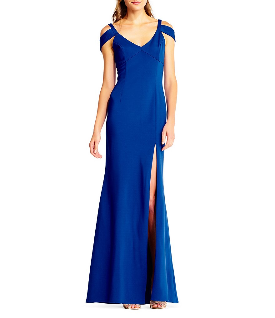 Adrianna Papell Cold Shoulder Jersey Gown