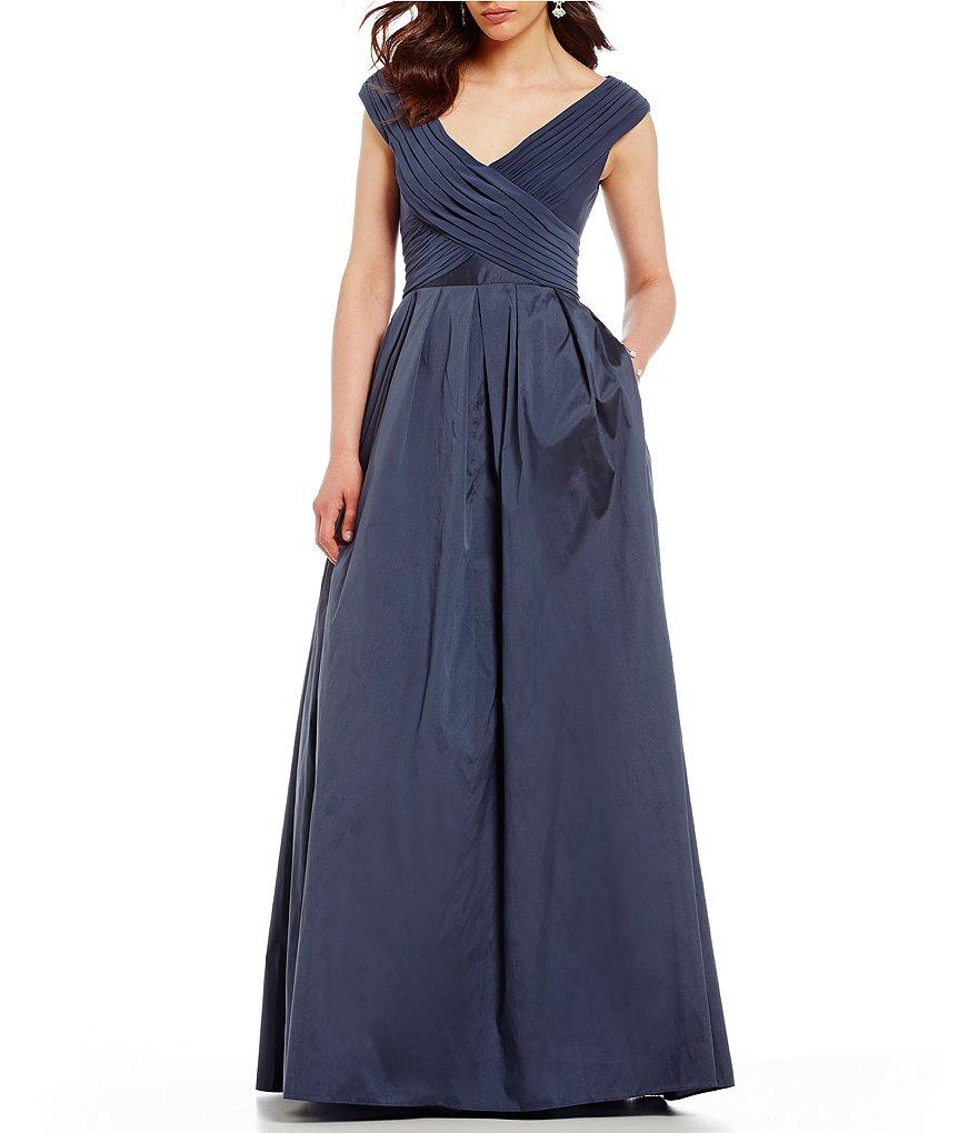 Adrianna Papell Draped Jersey Top Taffeta Skirt Ballgown   Dillards