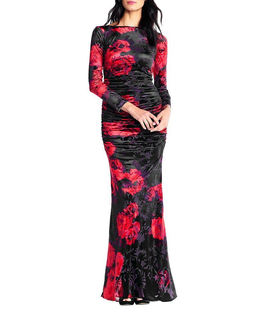 Adrianna Papell Draped Velvet Gown