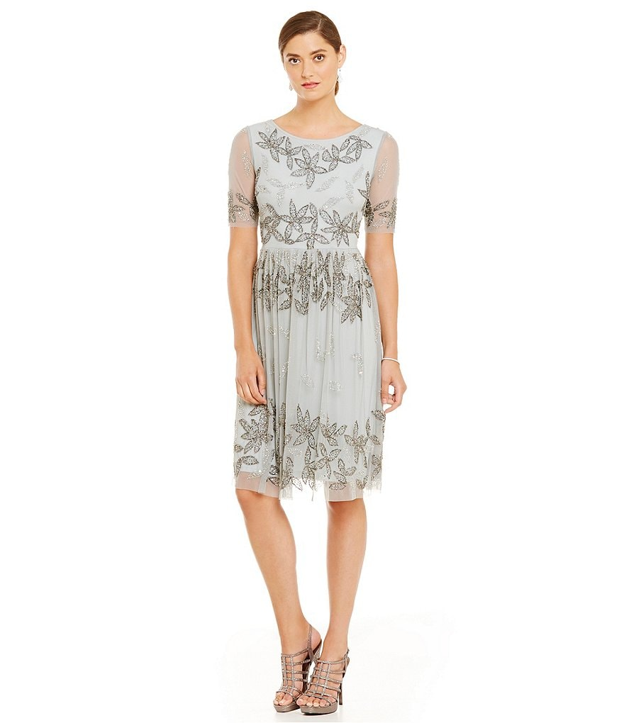 Adrianna Papell Elbow Sleeve Beaded Floral Cocktail Dress
