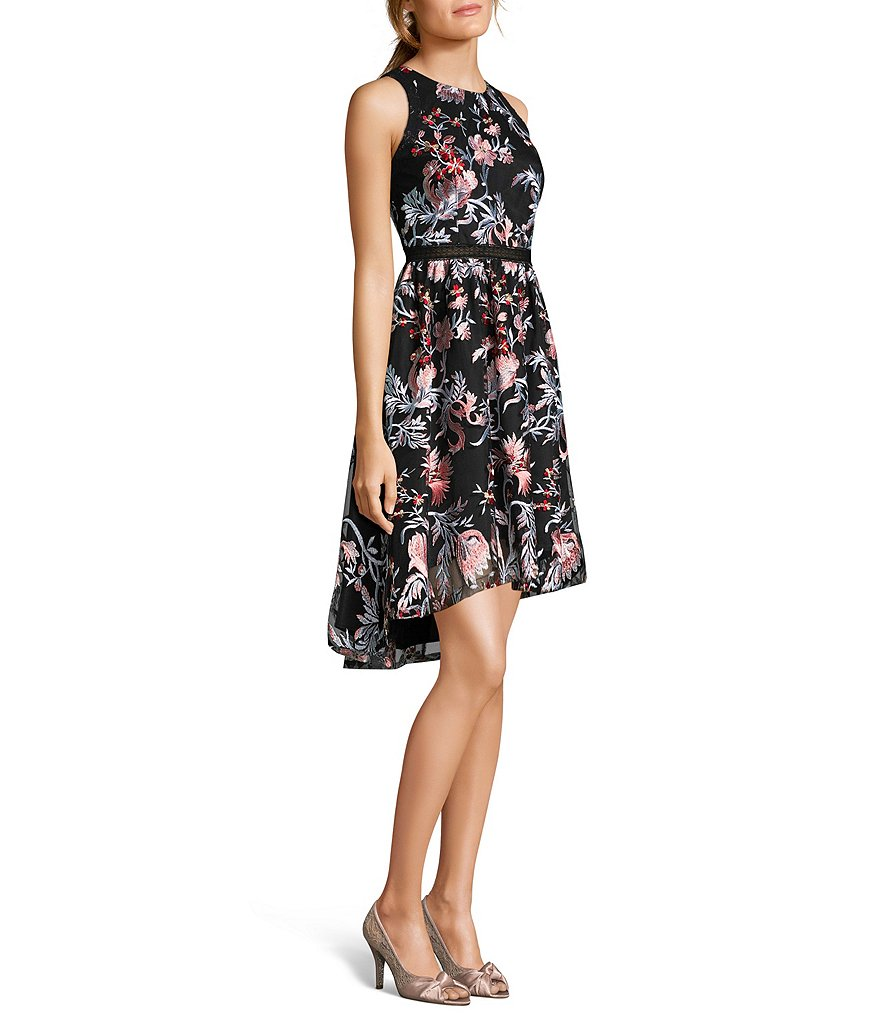 Adrianna Papell Embroidered Halter Short Dress