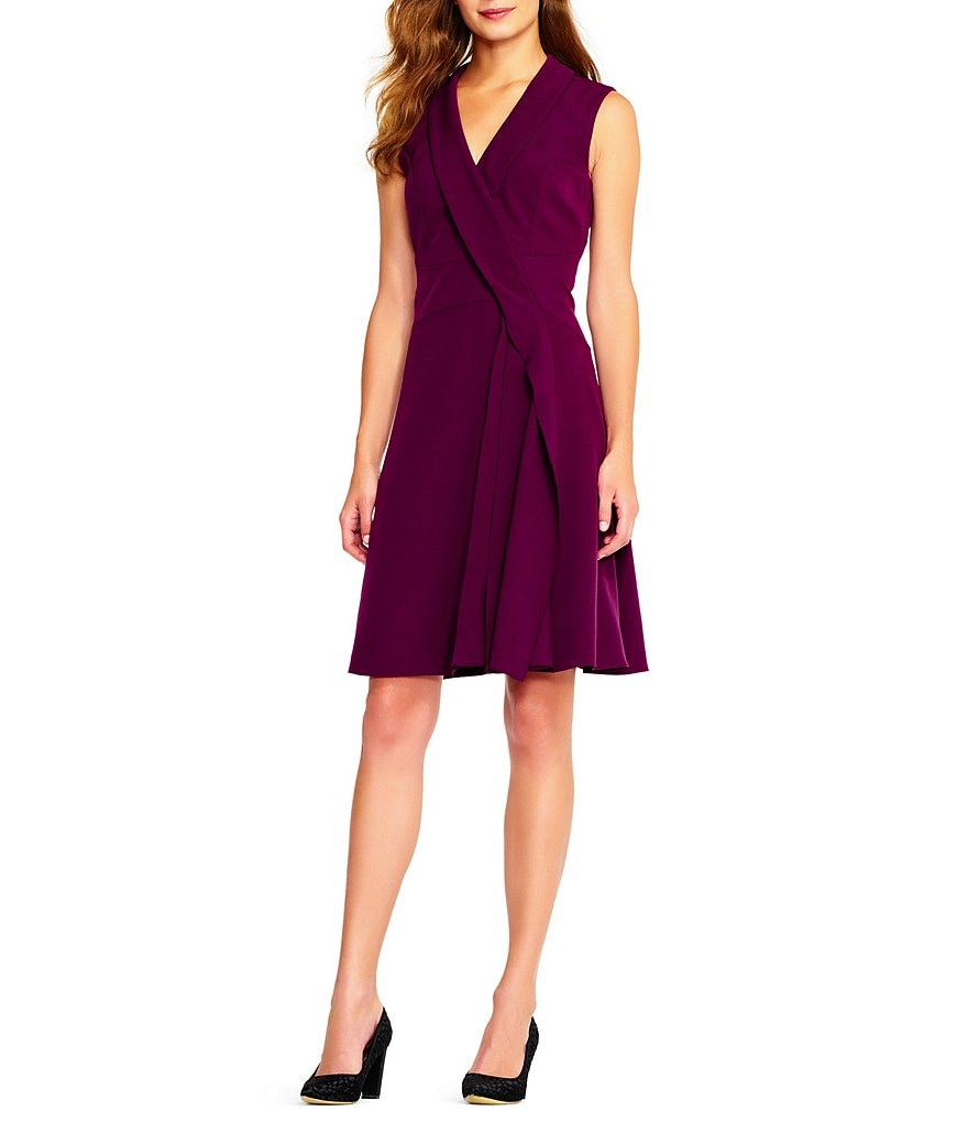 Adrianna Papell Fit And Flare Faux Wrap Dress