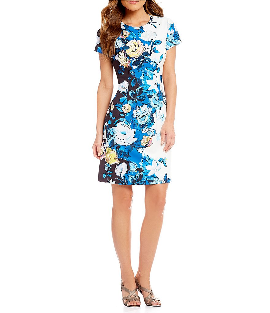 Adrianna Papell Floral Print Knit Crepe A-line Dress
