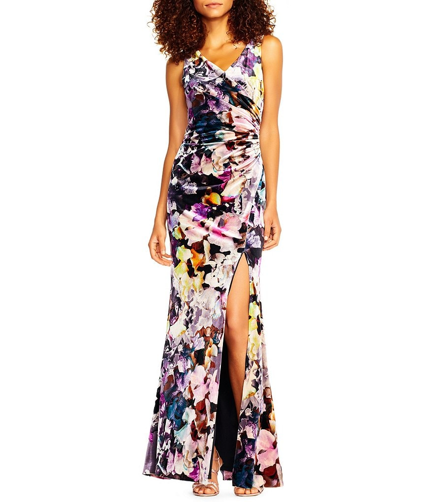 Adrianna Papell Floral Printed Velvet Mermaid Gown