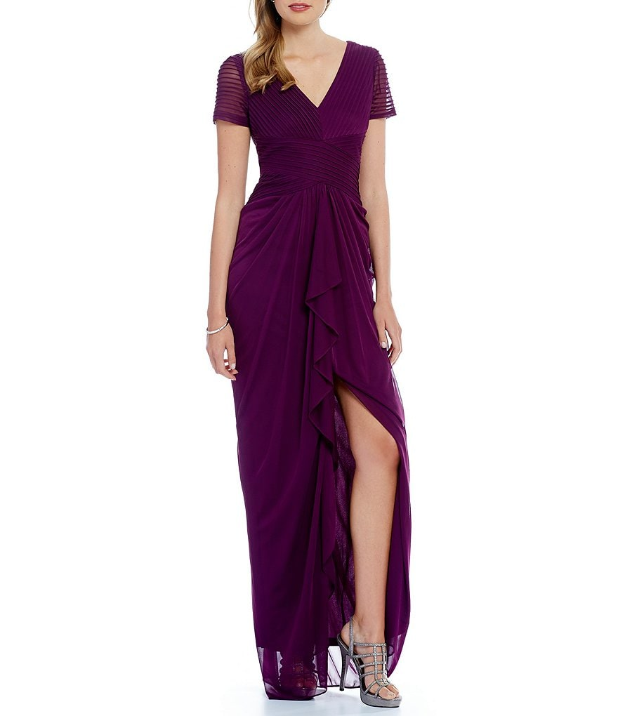 Adrianna Papell Flutter Sleeve Mesh Gown