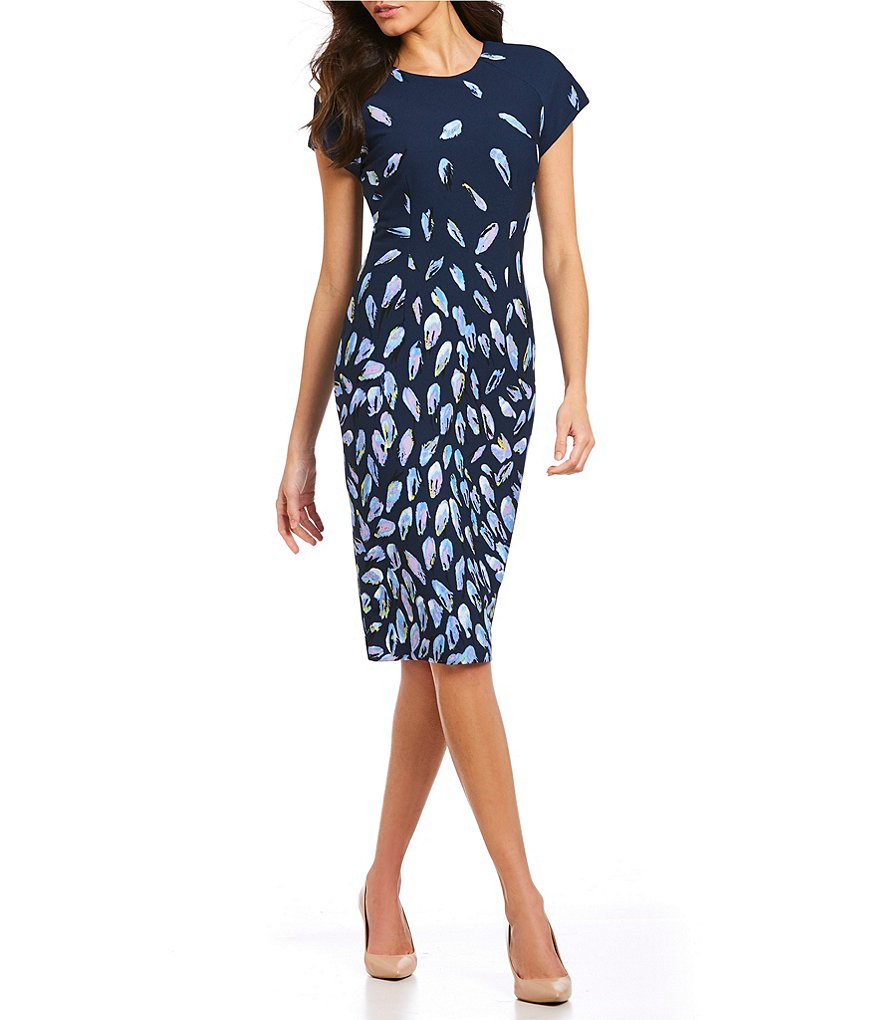 Adrianna Papell Fluttering Beauty Crepe Sheath Dress