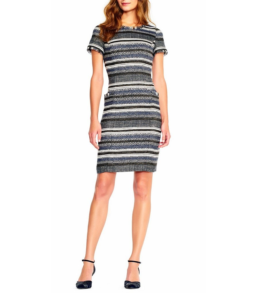 Adrianna Papell Herringbone Stripe Printed Shift Dress