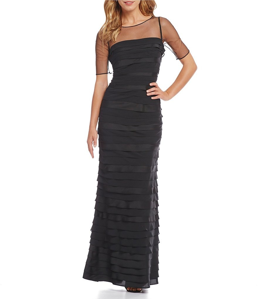 Adrianna Papell Illusion Neck Tiered Gown
