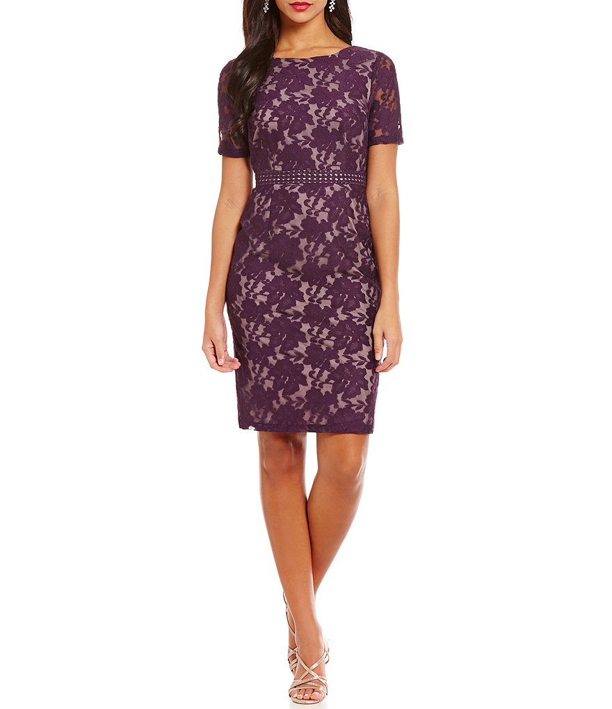 Adrianna Papell Illusion Short Sleeve Lace Sheath Dress