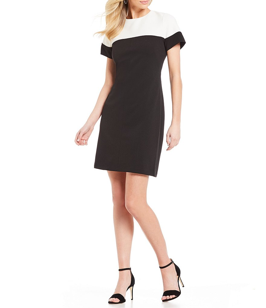 Adrianna Papell Knit Crepe Colorblocked Dress