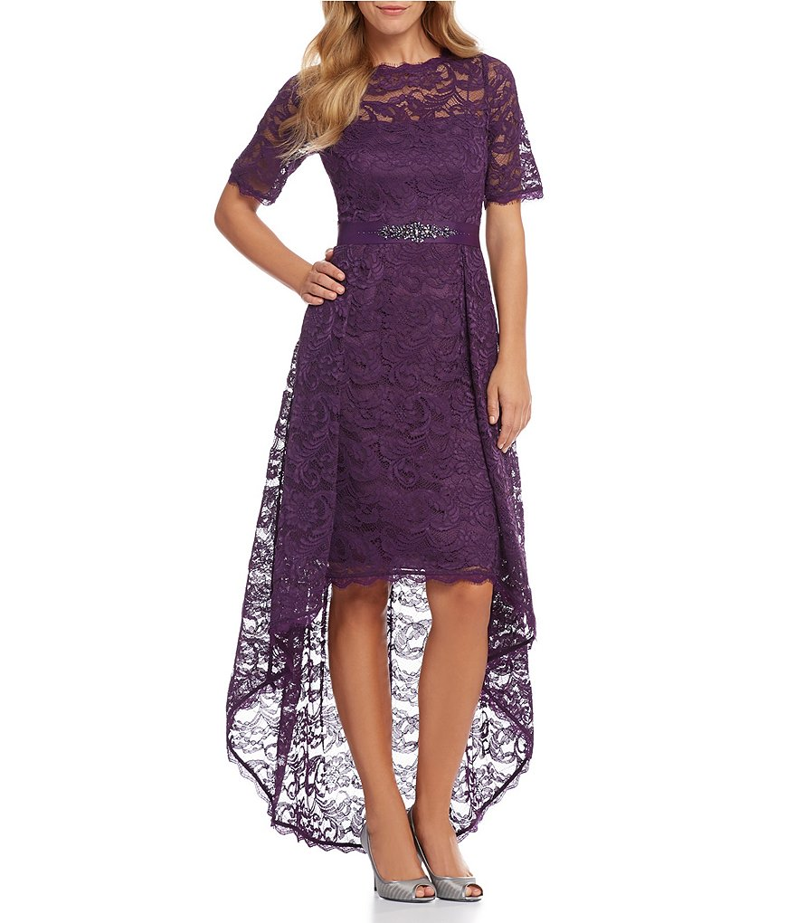 Adrianna Papell Lace High Low Dress