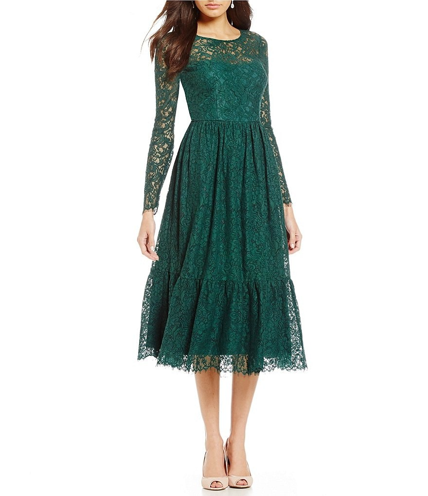 Adrianna Papell Long Sleeve Lace Midi Dress