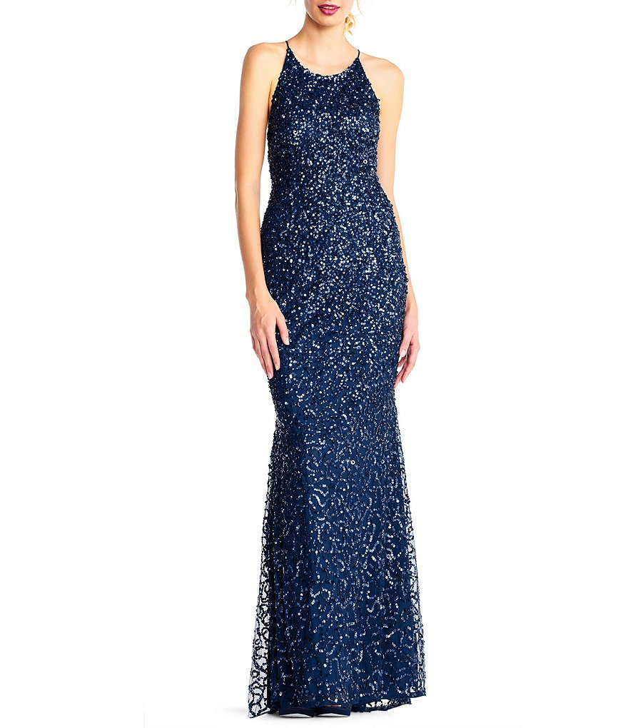 Adrianna Papell Low Back Crunchy Beaded Gown