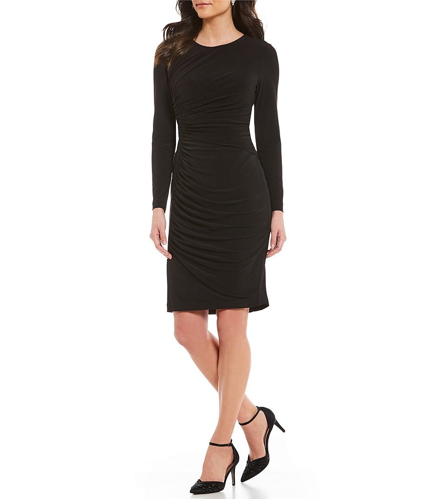 Adrianna Papell Matte Jersey Gathered Sheath Dress