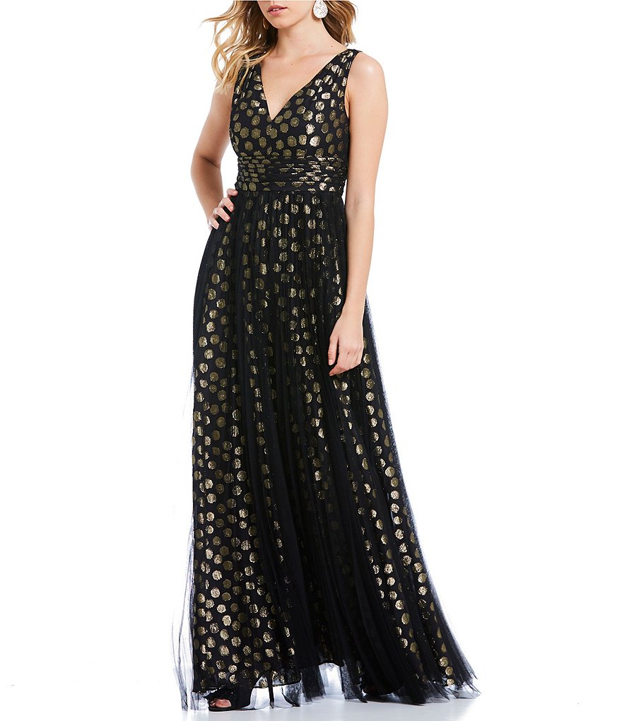 Adrianna Papell Metallic Dot Gown