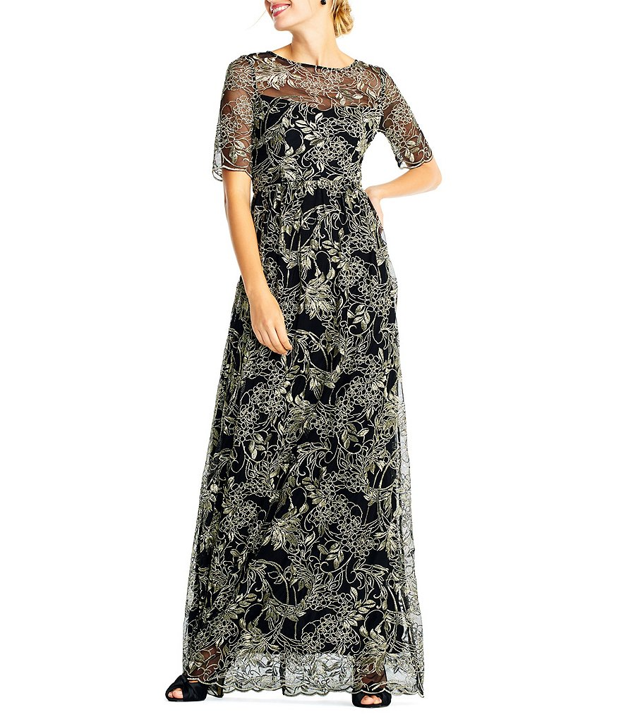 Adrianna Papell Metallic Embroidered Lace Gown