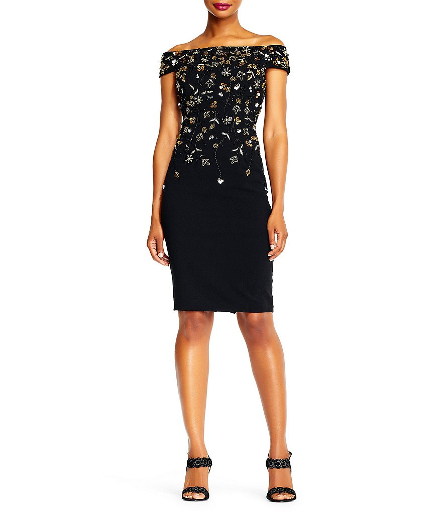 Adrianna Papell Off-The-Shoulder Beaded Floral Sheath Dress