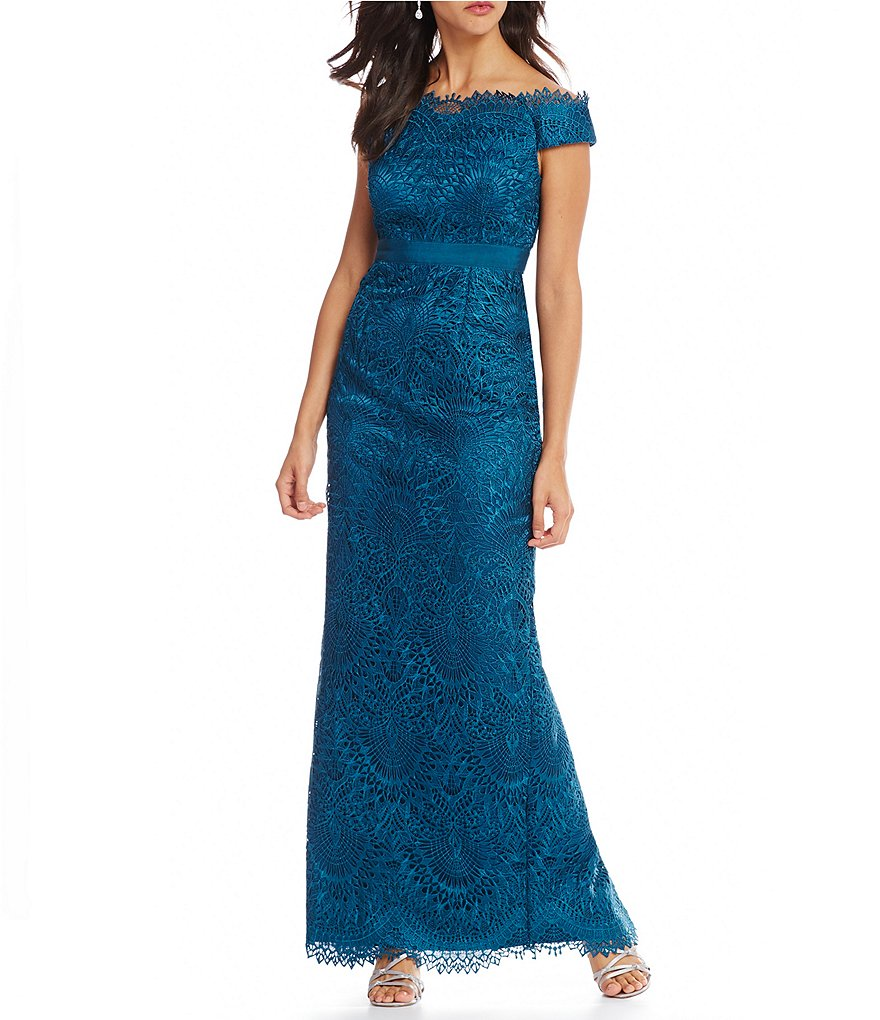 Adrianna Papell Off-The-Shoulder Embroidered Lace Gown