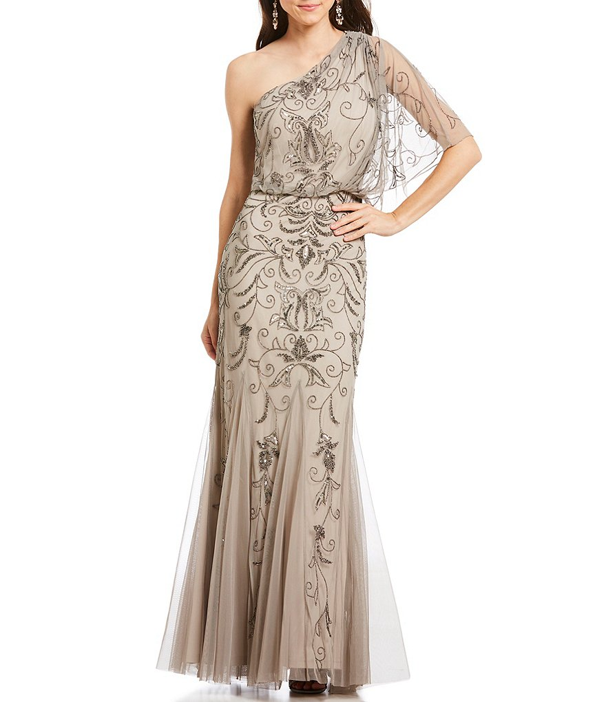 Adrianna Papell One Shoulder Beaded Blouson Gown