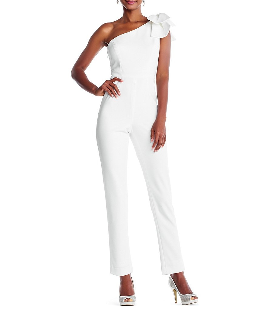 Adrianna Papell One Shoulder Bow Jumpsuit
