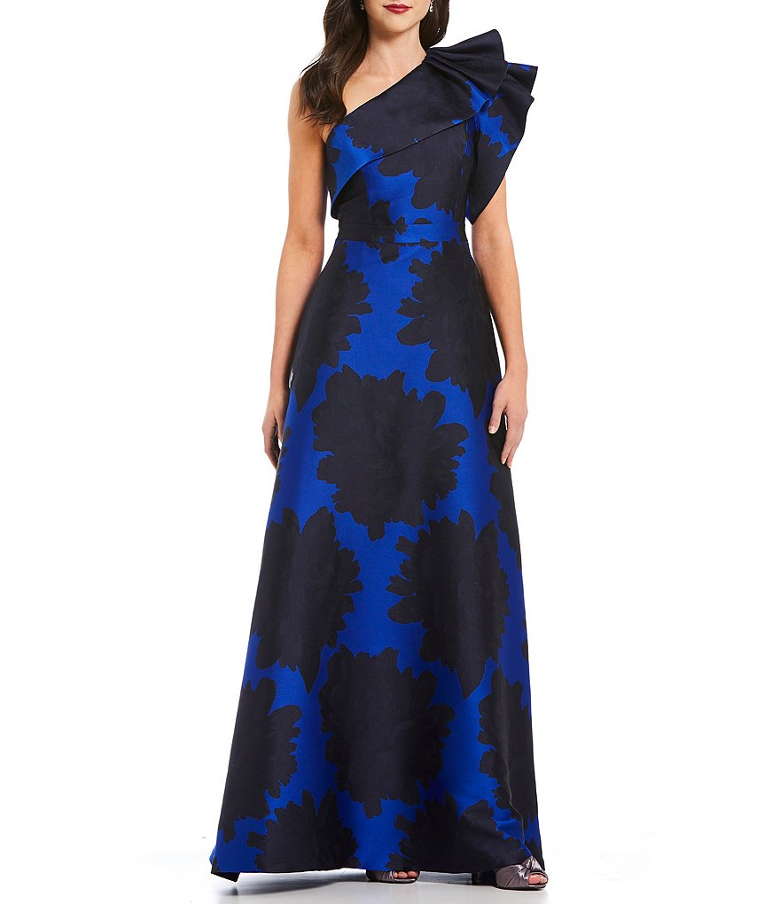 Adrianna Papell One Shoulder Ruffle Jacquard Gown   Dillards