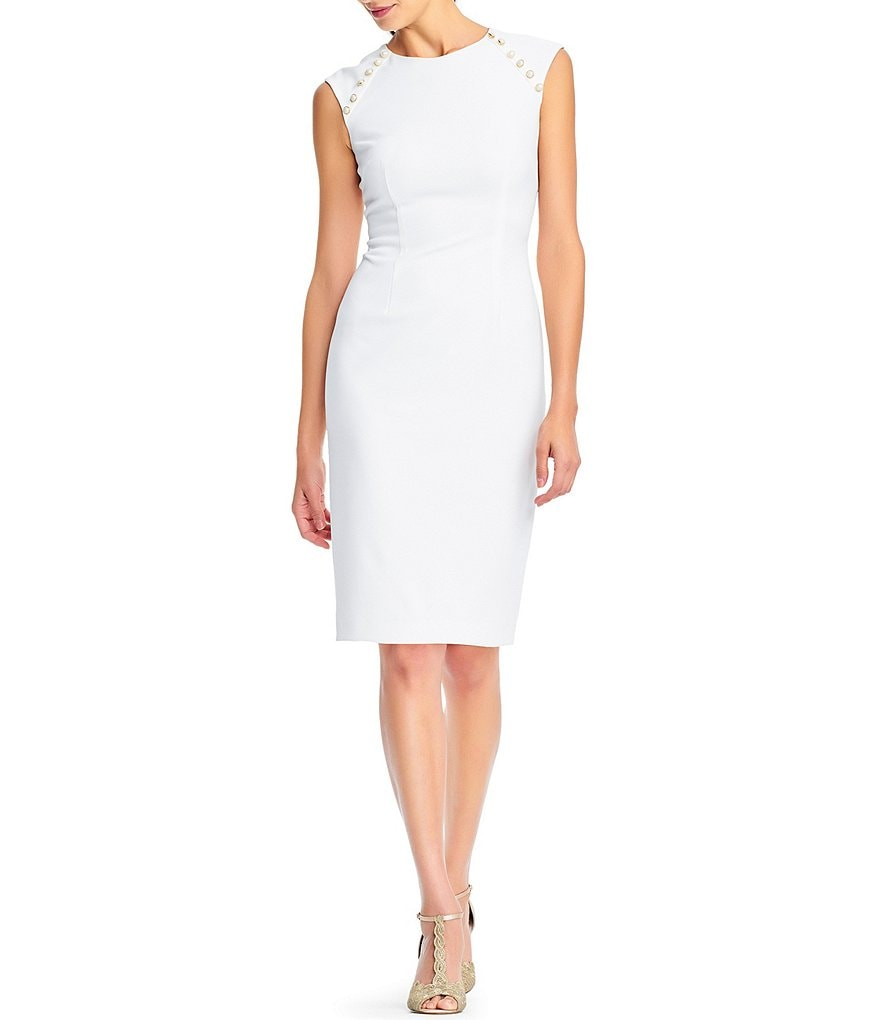 Adrianna Papell Pearl Button Sheath Dress