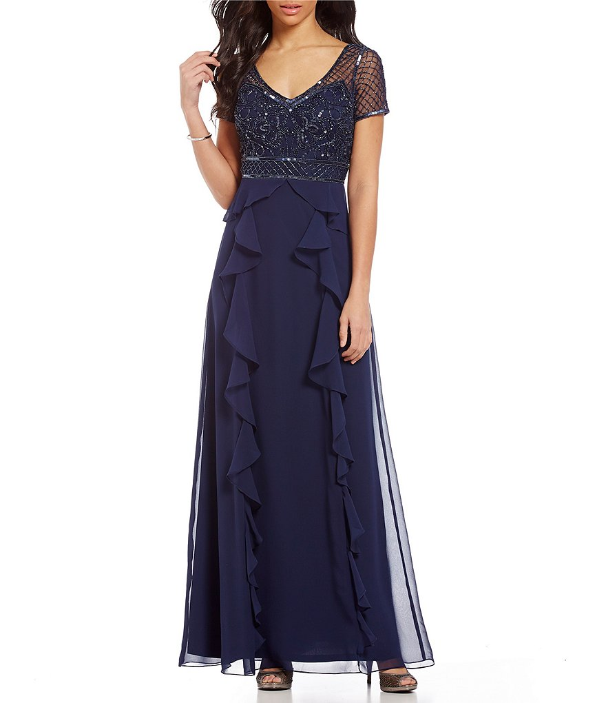Adrianna Papell Petite Beaded Bodice Ruffled Gown