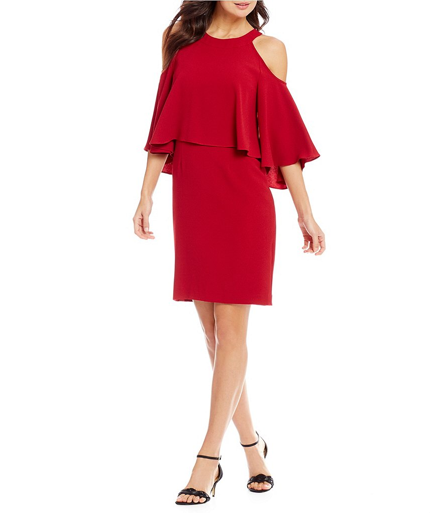 Adrianna Papell Petite Cold Shoulder Bell Sleeve Sheath Dress