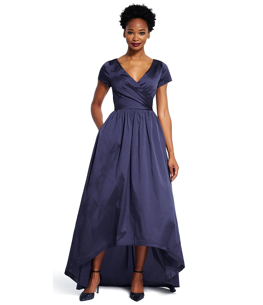 Adrianna Papell Petite Hi-Low Taffeta Short Sleeve Ball Gown