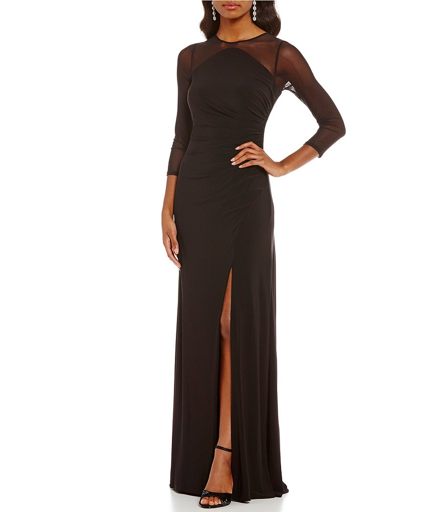 Adrianna Papell Petite Illusion Sleeve Gown