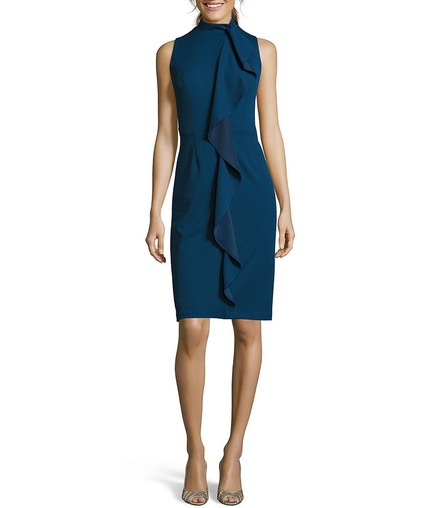 Adrianna Papell Petite Knit Crepe Mock Neck Dress