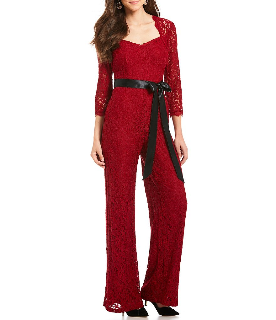Adrianna Papell Petite Lace Wide-Leg Jumpsuit