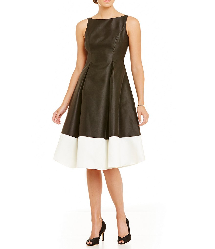 Adrianna Papell Petite Mikado Colorblock Tea-Length Dress