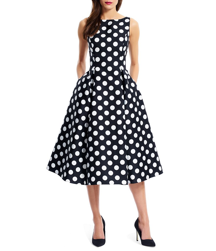 Adrianna Papell Petite Polka-Dot T-Length Dress