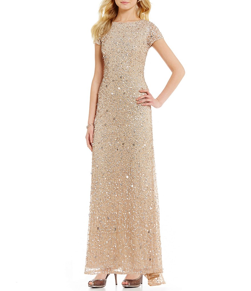 Adrianna Papell Petite Sequined Short-Sleeve Gown