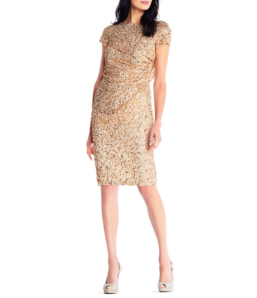 Adrianna Papell Petite Short-Sleeve Beaded Dress