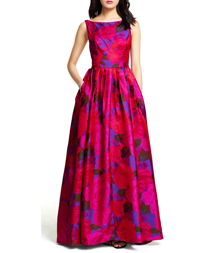 Adrianna Papell Petite Sleeveless Floral Jacquard Gown