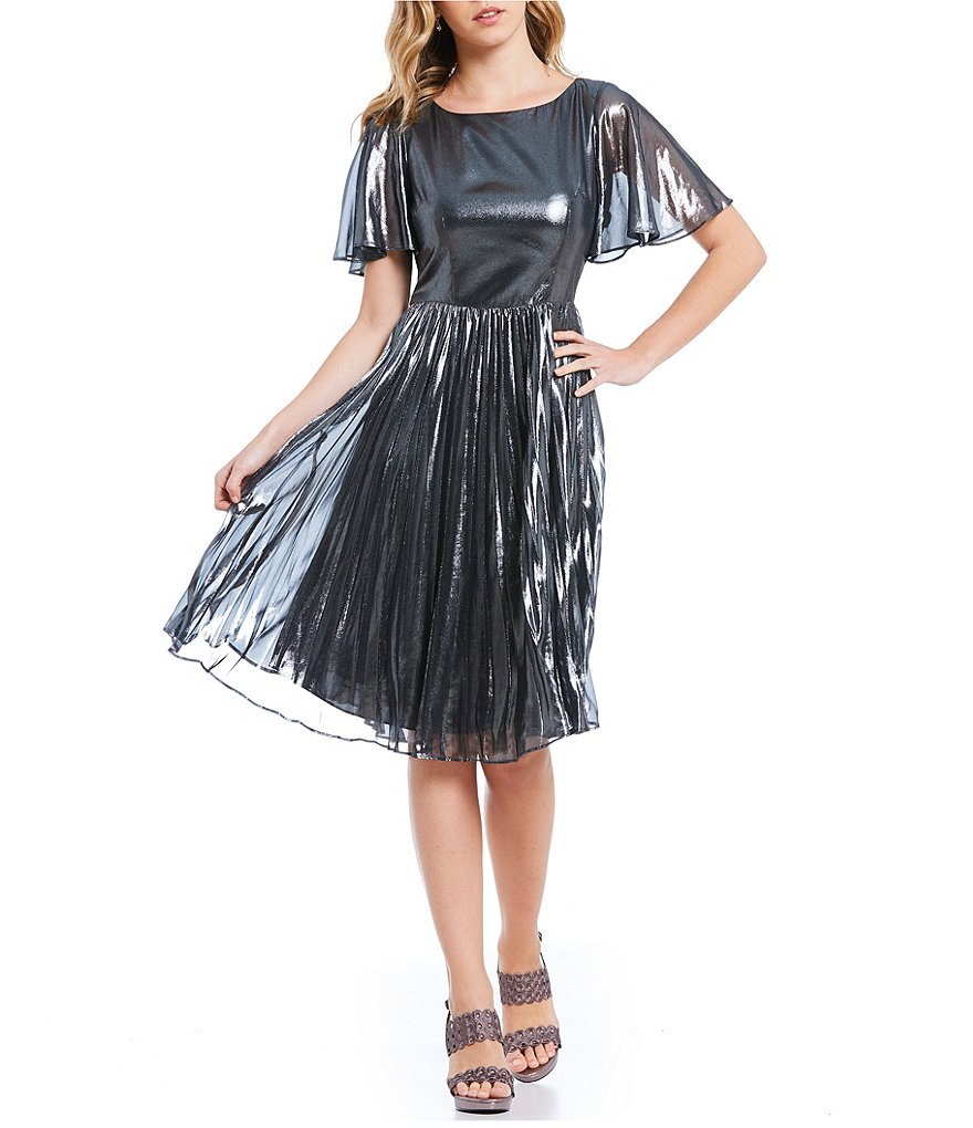 Adrianna Papell Pleated Metallic Foiled Chiffon Dress
