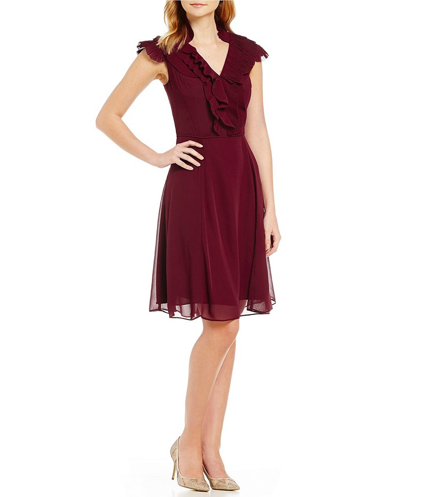 Adrianna Papell Pleated Ruffle Front V-Neck Fit-and-Flare Dress