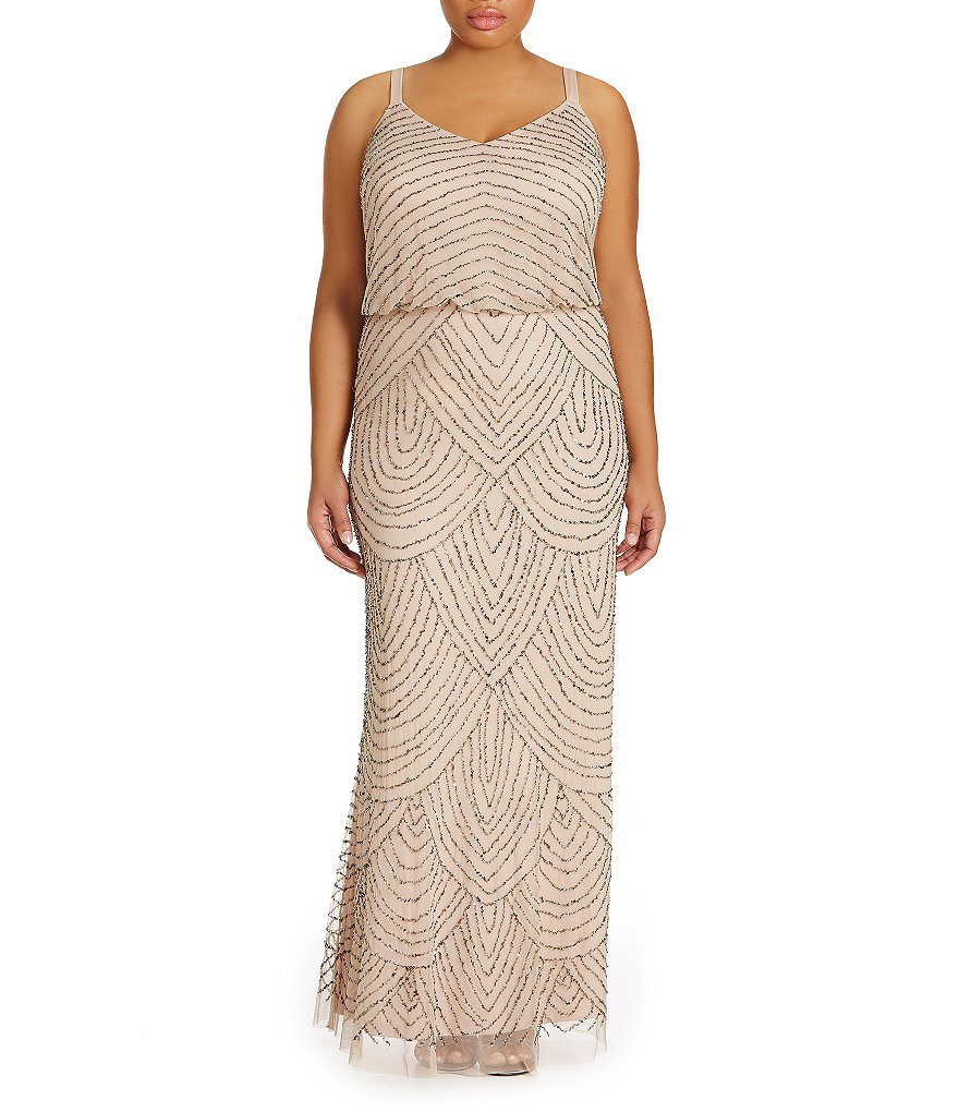 Adrianna Papell Plus Beaded Blouson Gown